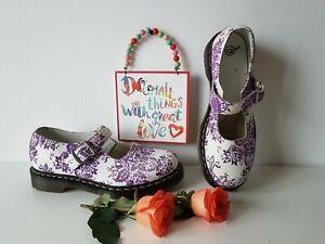 Dr Doc Martens Mary Jane white purple velvet floral buckle shoes UK8 EU42 US10