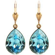 Ohrringe mit kristallen Von Swarovski Gold blau Tropfen Nobel-schmuck
