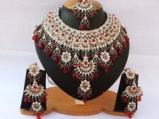 Silver Plated Jodha Akbar Kundan Zerconic Indian Necklace Earrings Tikka Set 1