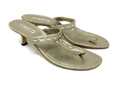 Manolo Blahnik 8.5 Heels Sandals Slides Gold Leather Vintage Thong 40.5