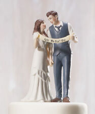"Sweet Love Marriage Bridal&Groom Wedding Cake Toppers Slogan ""We Did!"""