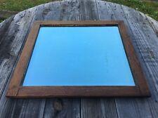 "Vtg Oak ? American Chestnut ? Wood Plate Glass Beveled Mirror Antique Heavy 21"""