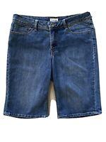 St. Johns Bay Womens Bermuda Shorts Blue Denim Flap Embellished Pockets 14