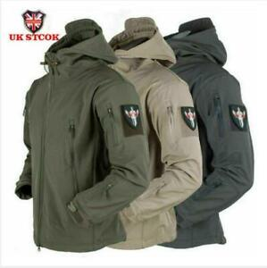 Mens Waterproof Military Jacket Winter Hooded Breathable Outdoor Camouflage coat