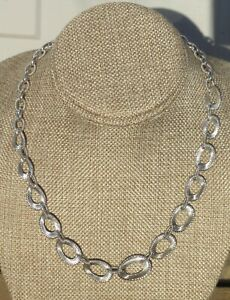Judith Ripka Sterling Silver CZ diamonique Chunky Statement Oval Link Necklace