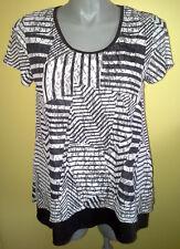 Ladies Womens Short Sleeve Blouse Top Shirt Black White Casual Noni B Size L 14