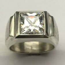 MJG STERLING SILVER MEN'S RING.10 X 10MM  SQUARE FACETED WHITE CZ . SZ10