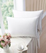 White Goose Down Feather Pillows for Sleep (2-Pack) 100% Cotton Queen Size Firm
