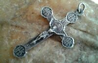 "VINTAGE or ANTIQUE SILVER PLATED CATHOLIC CRUCIFIX CROSS with ""IHS"" CHRISTOGRAMS"
