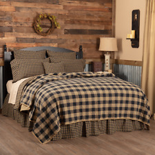 FARMHOUSE COUNTRY PRIMITIVE RUSTIC QUILTED BLACK TAN CHECK BEDDING COLLECTION