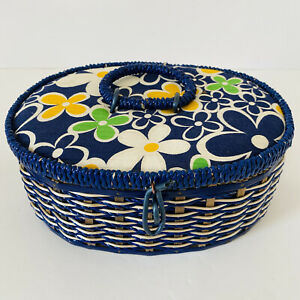 Vintage Floral Sewing Basket Box Blue White Yellow Made in Japan Retro Funky