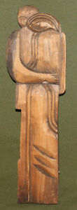 Vintage hand carving wood abstract figure wall decor plaque