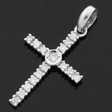 9ct White Gold Diamond Cross with 16 inch White Gold Chain - Gift Box -Religious