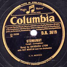 UK #12 BARBARA LYON 78  STOWAWAY  / THE PENDULUM SONG  UK COLUMBIA DB 3619 E/E-