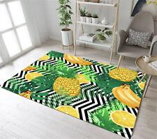 Floor Rug Mat Bedroom Living Room Area Rugs Black & White Wave Banana Pineapple