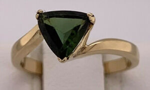 Vintage 18k yellow gold Trillion Green Tourmaline Bypass Ring, .98 ct, size 6.75