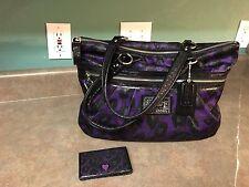 Coach Poppy Daisy Ocelot Leopard Glam Tote Purple/ Black F20048 With Wallet