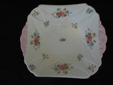 RARE SHELLEY CAKE PLATE ,ROSE & RED DAISY PATTERN13425,1940s  GREAT CONDITION