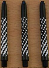 "3 Sets (3X3) Spiroline ""Black+White"" Medium Deflectagrip Stems/Shafts (2BA)"
