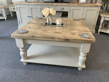 Square Farmhouse Coffee Table with Shelf Made From Solid Pine in Farrow & Ball