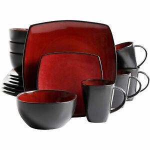 Gibson Soho Lounge 16 Piece Reactive Glaze Dinnerware Plates, Bowls, & Mugs, Red