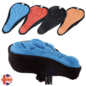 Bike Seat Cover Bicycle Silicone 3D Gel Saddle Pad Padded Soft Cushion Comfort