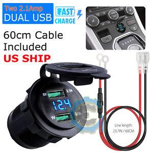 Car 12V Cigarette Lighter Socket Splitter Dual USB Charger Power Adapter Outlet