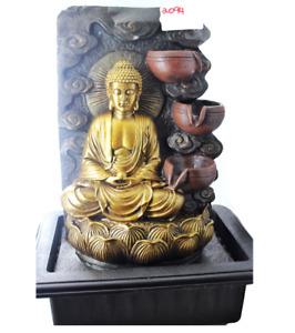 Gold Buddha Cascade Indoor Fountain with Swirl