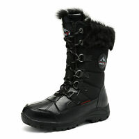 Women's Insulated Waterproof Warm Snow Boots Faux Fur Lace Up Mid Calf Boots