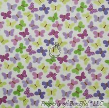 BonEful Fabric FQ Cotton Flannel White Purple Green BUTTERFLY Calico Baby Small