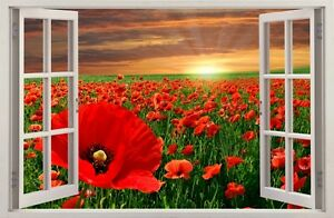 WALL STICKERS 3D Effect Window Flowers POPPIES decorative sticker to the room 29