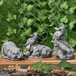 3pc Resin Small Elephant Set Garden Home Patio Statue Ornament Décor Gift
