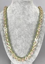 """Vintage Lucite Necklace - Iridescent Green and Silver Buttons - 32"""" Long 32g"""