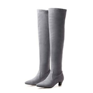 Women's Pointy Toe Kitten Mid Heel Suede Stretch Over The Knee Thigh High Boots