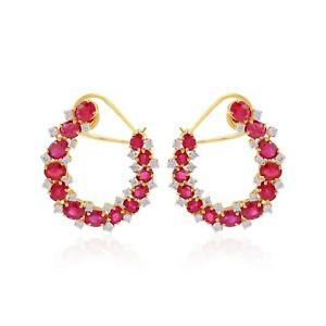 18k Yellow Gold Real Ruby Clip On Earrings Gemstone Si/Hi Diamond Fine Jewelry