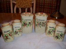 Vtg Made in Japan Ceramic Basket Weave Flowered Design Canister Shaker 8 Pc.Set