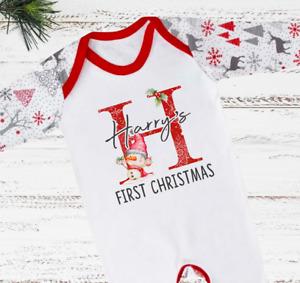 Personalised First Christmas Sleepsuit 1st Xmas Baby Grow Pyjamas