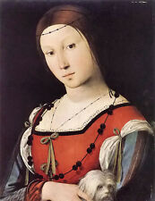 Oil painting cima da conegliano - portrait of a lady with a lap dog in ancient
