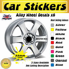 AMG 6x Alloy Wheel Stickers Decals 55mm x 5.5mm Latest Free UK Postage