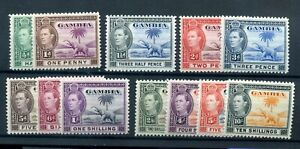 Gambia 1938 part set (inc better values) MNH hi cat val