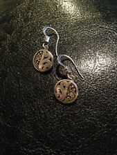 Vintage Lois Hill Dangle Drop Sterling Silver Earrings Round Coin