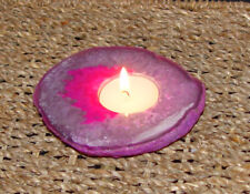 Pink Agate Candle Holder Slab Shape Natural Stone Dyed Pink AAA Quality & Gift