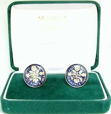 1965 6D cufflinks from real coins in Blue & Gold