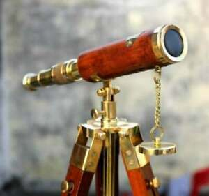 """Antique Brass Leather Telescope Nautical With Stand Wooden Tripod Vintage 10"""""""
