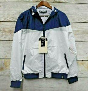 Encrypted Jacket Mens Size Large Blue & White Hooded Classic Jacket New