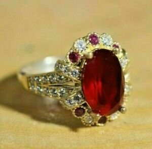 2Ct Oval Cut Red Ruby Two Tone Halo Engagement Ring 14K White/Yellow Gold Finish