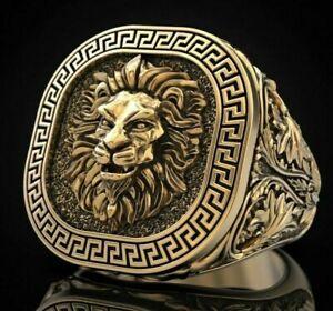 18k Solid yellow gold Greek Lion King head Men Ring size 10.5