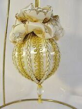 Handmade Christmas Tree Ornament White/Gold Trims Glittery Bows & Beads