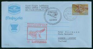 MayfairStamps Malaysia 1989 Kuala Lumpur to Bangkok Thailand Lufthansa Boeing 74