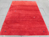 Old Traditional Hand Made Vintage Oriental Wool Red Gabbeh Rug 233x172cm